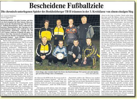 Delmenhorster Kurier vom 23.11.2007: Bescheidene Fußballziele